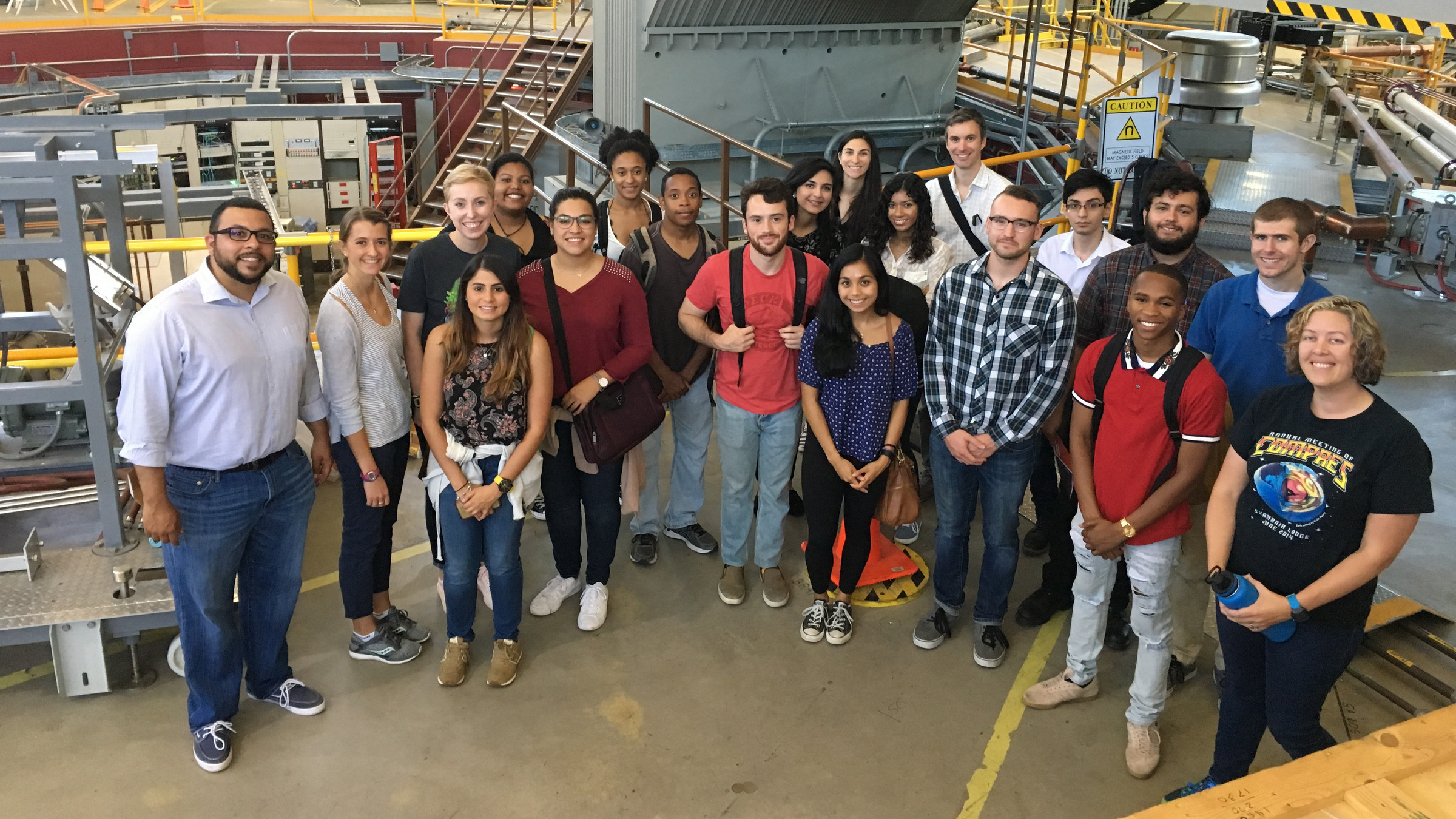 Students and faculty in the ChemEnergy REU and CCB-GAP programs visiting the Advanced Light Source at Lawrence Berkeley Lab for a group tour with UC Davis alumna Christina Beavers, a Beamline Scientist at the ALS.