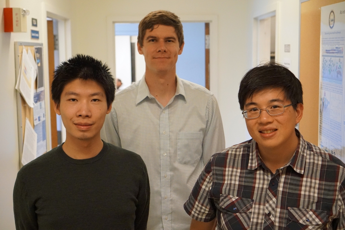 Postdoctoral researcher Yudong Qui, graduate student Marshall Hutchings and Professor Lee-Ping Wang