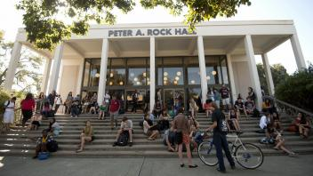 Students gather outside Peter Rock Hall at UC Davis before class on the first day of the fall quarter, on September 27, 2012.