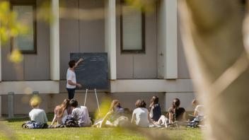 Teaching Assistant Tim Shelton, a graduate student in chemistry, goes over students' questions outside the Chemistry Annex on Tuesday, March 18, 2014. These students were from UC Davis Professor Andreas Toupadakis' class and were taking advantage of the first days of warm weather while studying for the Chemistry 2A final.