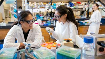 Two graduate students working in a lab.