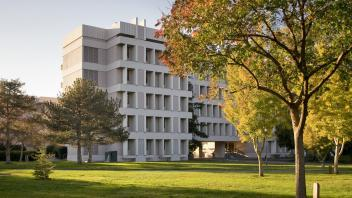 A view of the Chemistry Annex on a beautiful fall day.