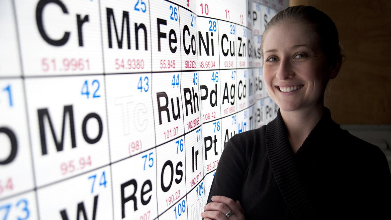 Teacher Sydney Milton, a former UC Davis graduate students, stands next to Periodic Table of Elements Chart after her morning Chemistry Class at Vanden High on December 14, 2011 in Fairfield, Ca.  The class of 30 students were learning about the heat of reactions from first-year teacher Sydney Milton.