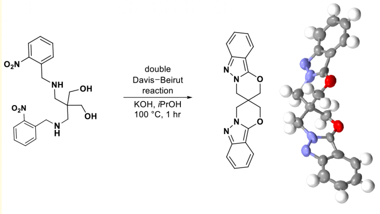 Reaction mechanism with 3-D rendering of product on right.