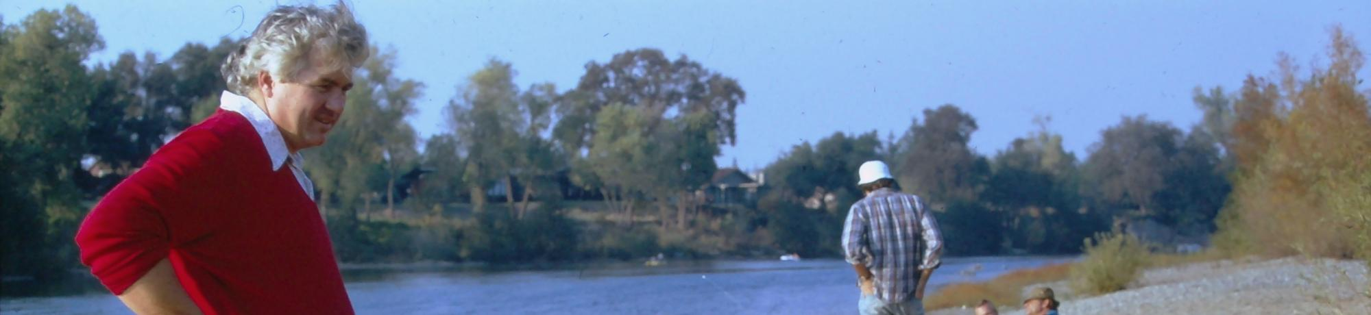 Jim Swinehart with family and friends at the American River in 1973